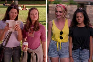 """On the left, Lorelai and Rory from """"Gilmore Girls,"""" and on the right, Ginny and Georgia"""