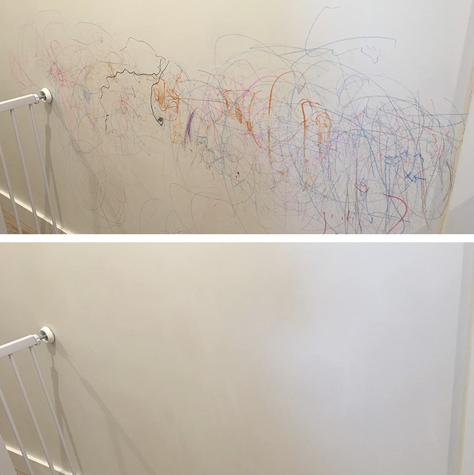 reviewer photo showing their wall covered in crayon, then the wall completely white and all the crayon removed after using the magic eraser