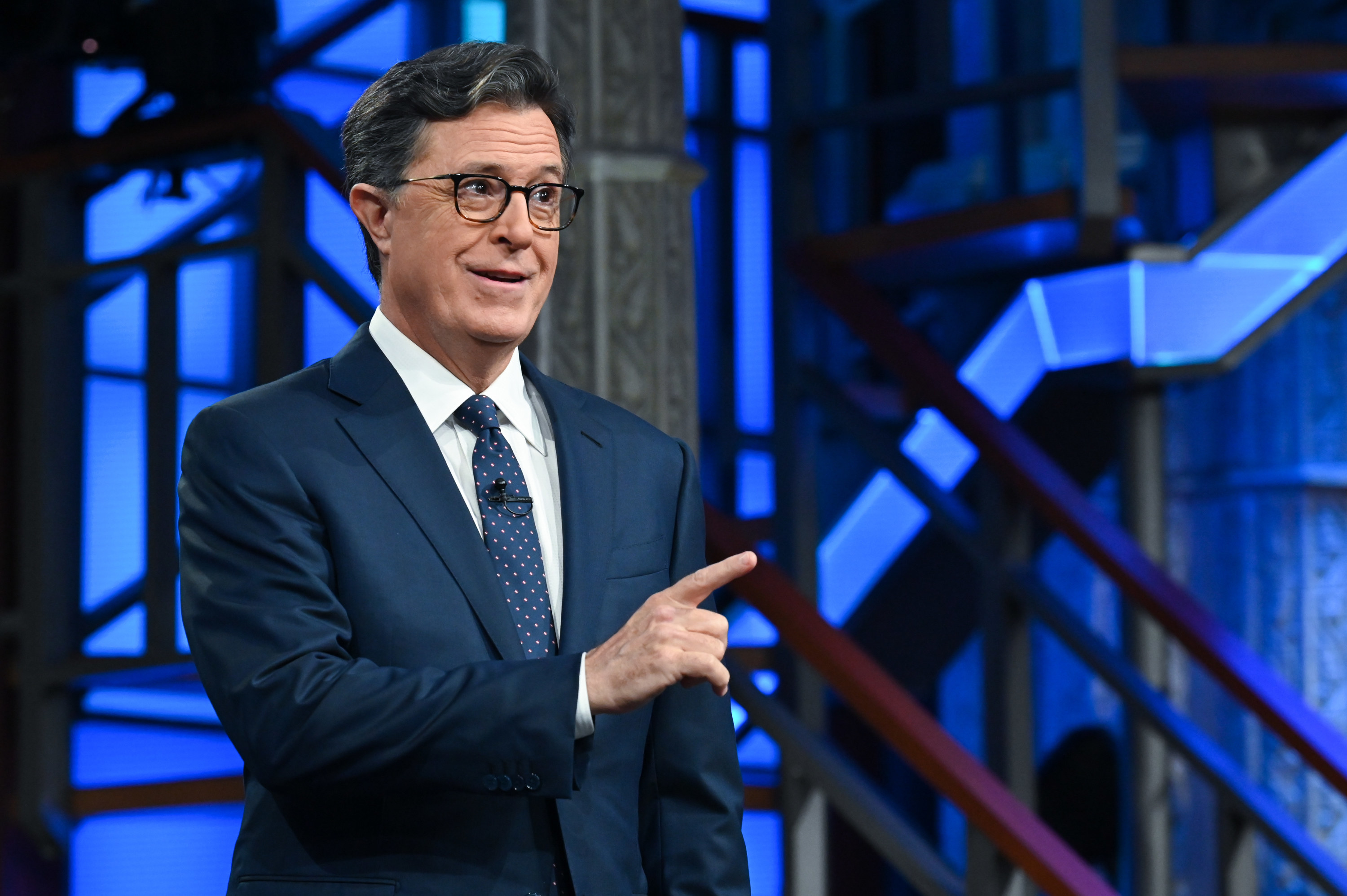 Stephen Colbert is pictured filming an episode of The Late Show
