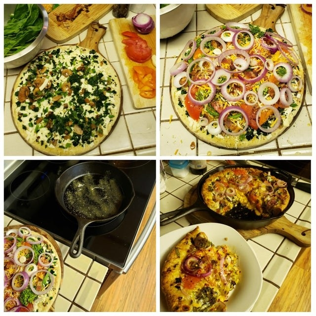 A process shot of turning frozen pizza into deep dish.