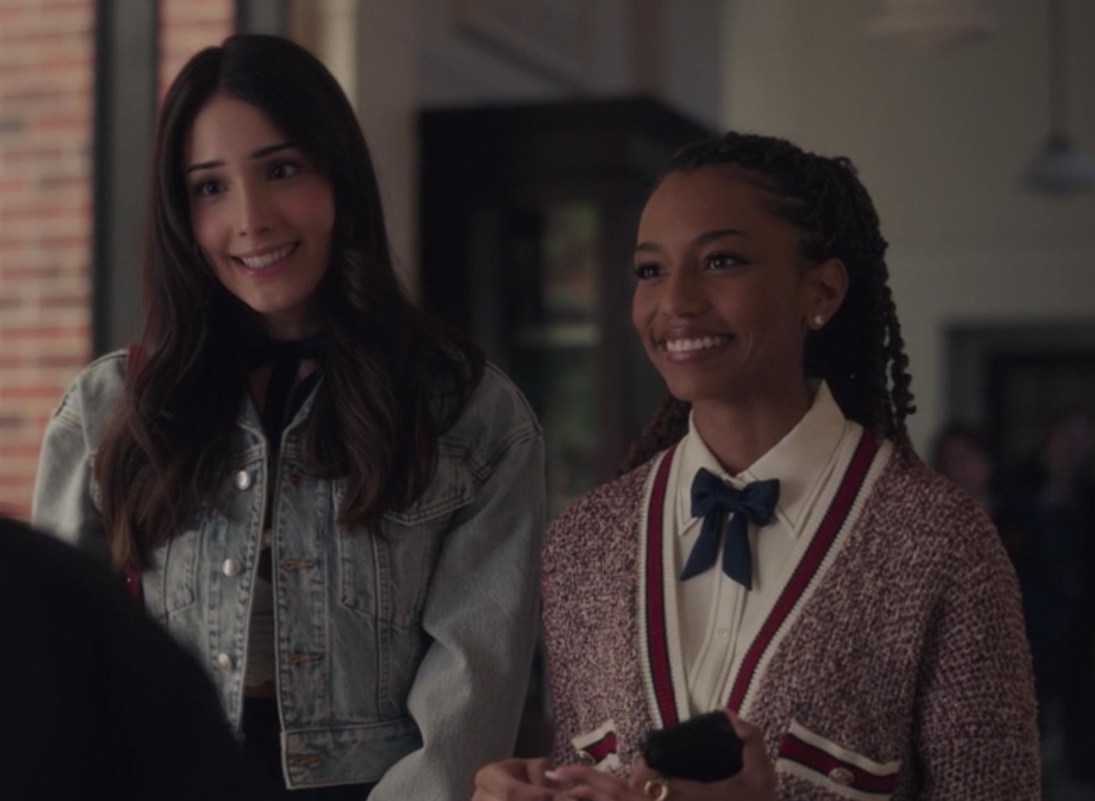 Luna wears a cropped denim jacket and Monet wears an oversized knit cardigan.