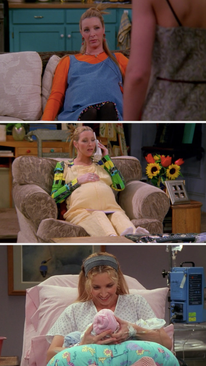"""Phoebe being pregnant and then giving birth from """"Friends"""""""