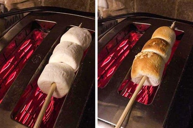Roasting marshmallows over a toaster oven.