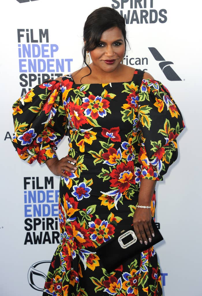 Mindy Kaling is photographed on the red carpet at the 2020 Film Independent Spirit Awards