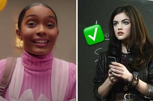 Yara Shahidi is on the left smiling wide with Lucy Hale on the right labeled with a check mark