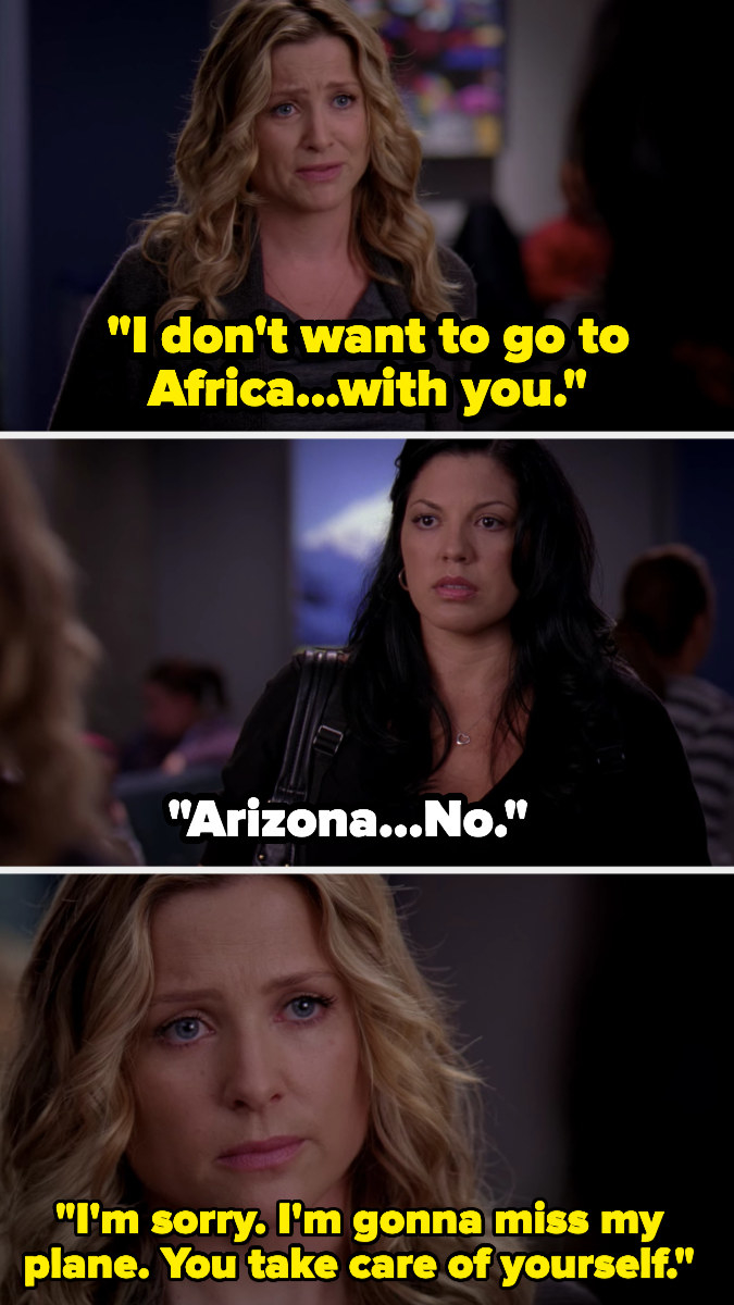 """Arizona breaking up with Callie in an airport in """"Grey's Anatomy"""""""
