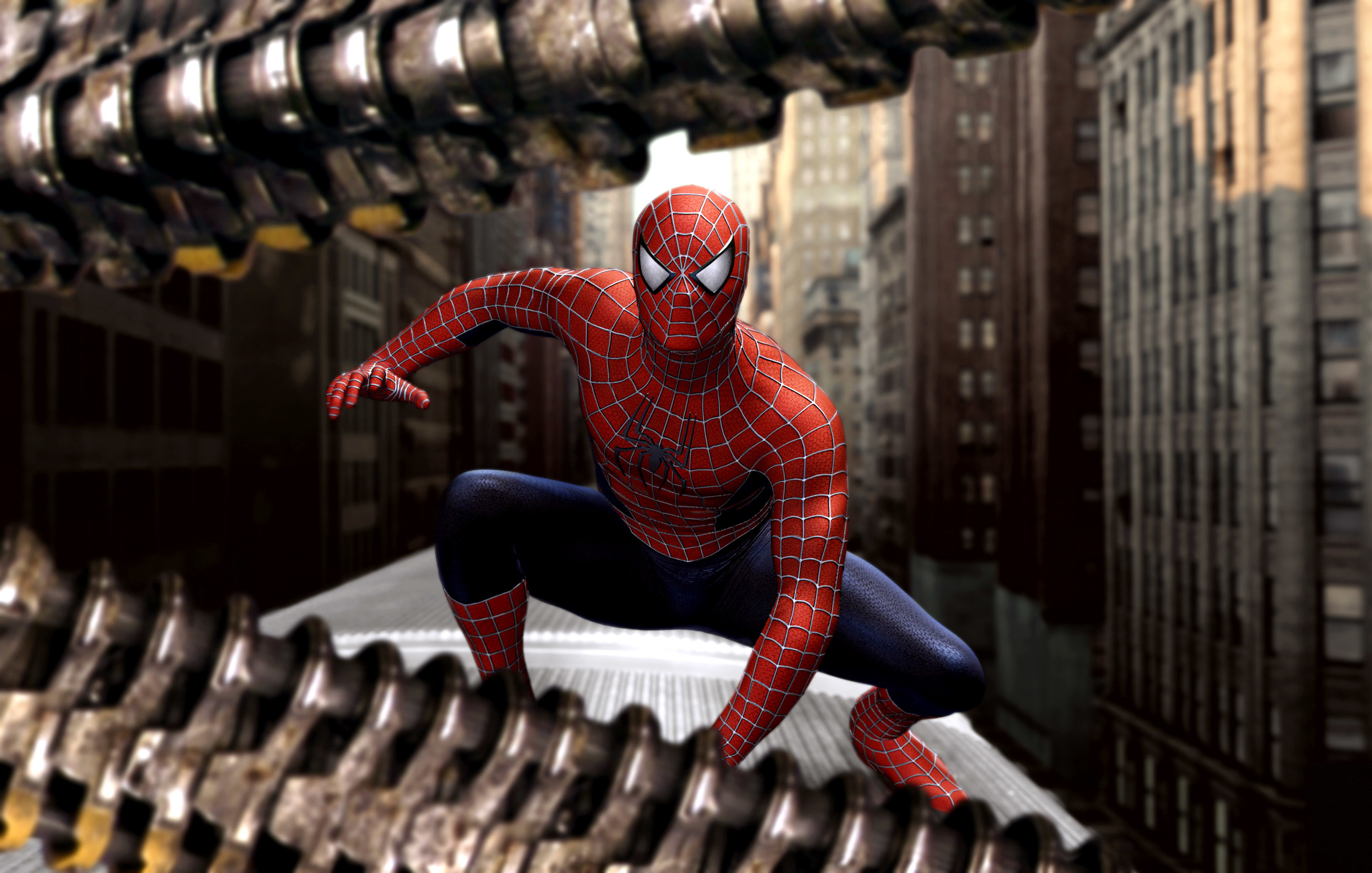 Spider-Man on top of a movie train