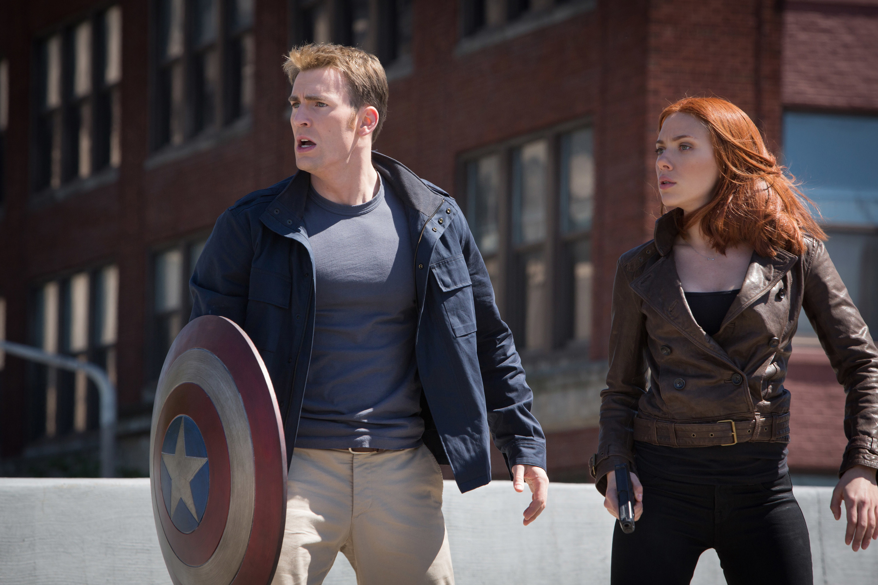 captain america and black widow looking at something