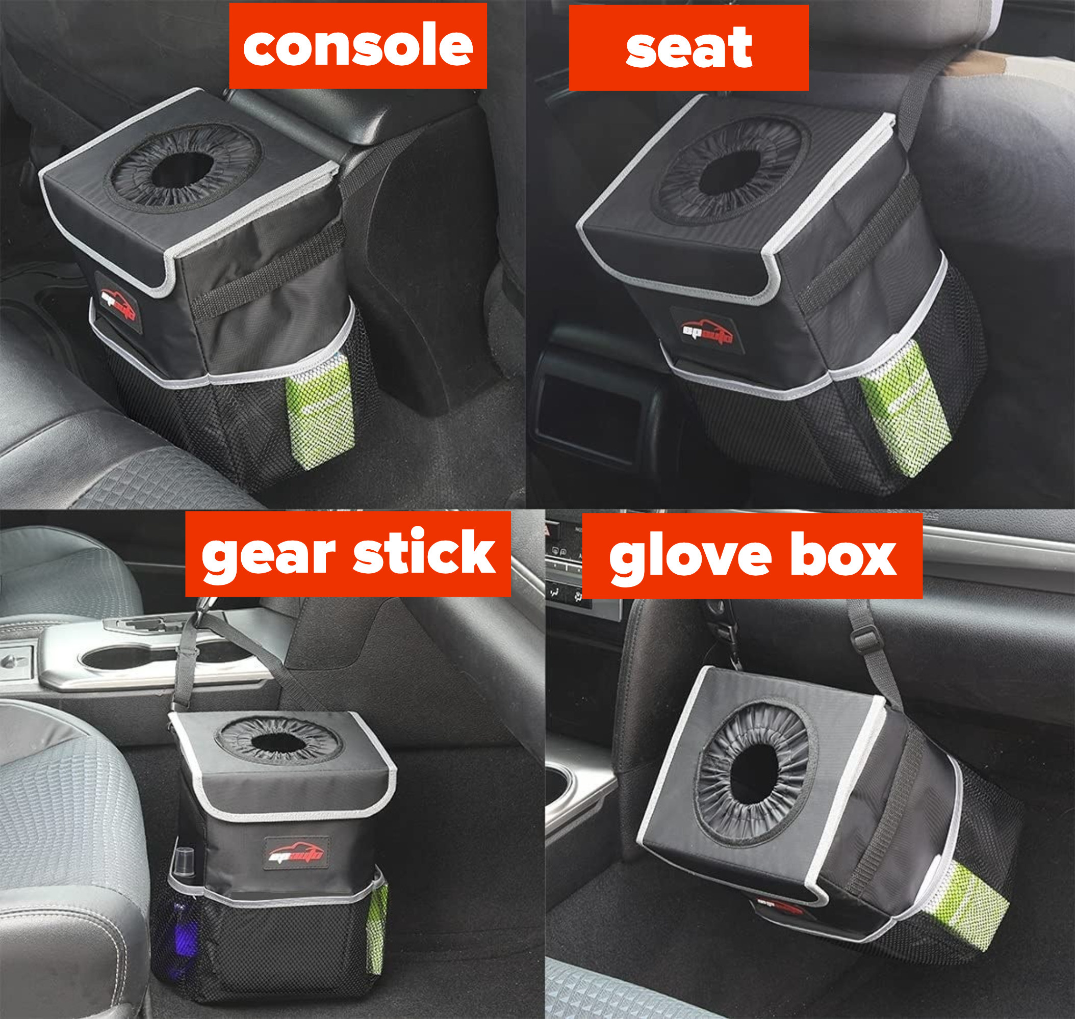 four images of the trash can hanging off of the console, seat, gear stick, and glove box