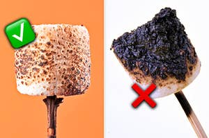 a golden marshmallow on the left with a green checkmark and a burnt marshmallow on the right with a red x