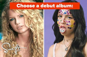 """Taylor Swift is on the left with Olivia Rodrigo on the right labeled, """"Choose a debut album:"""""""