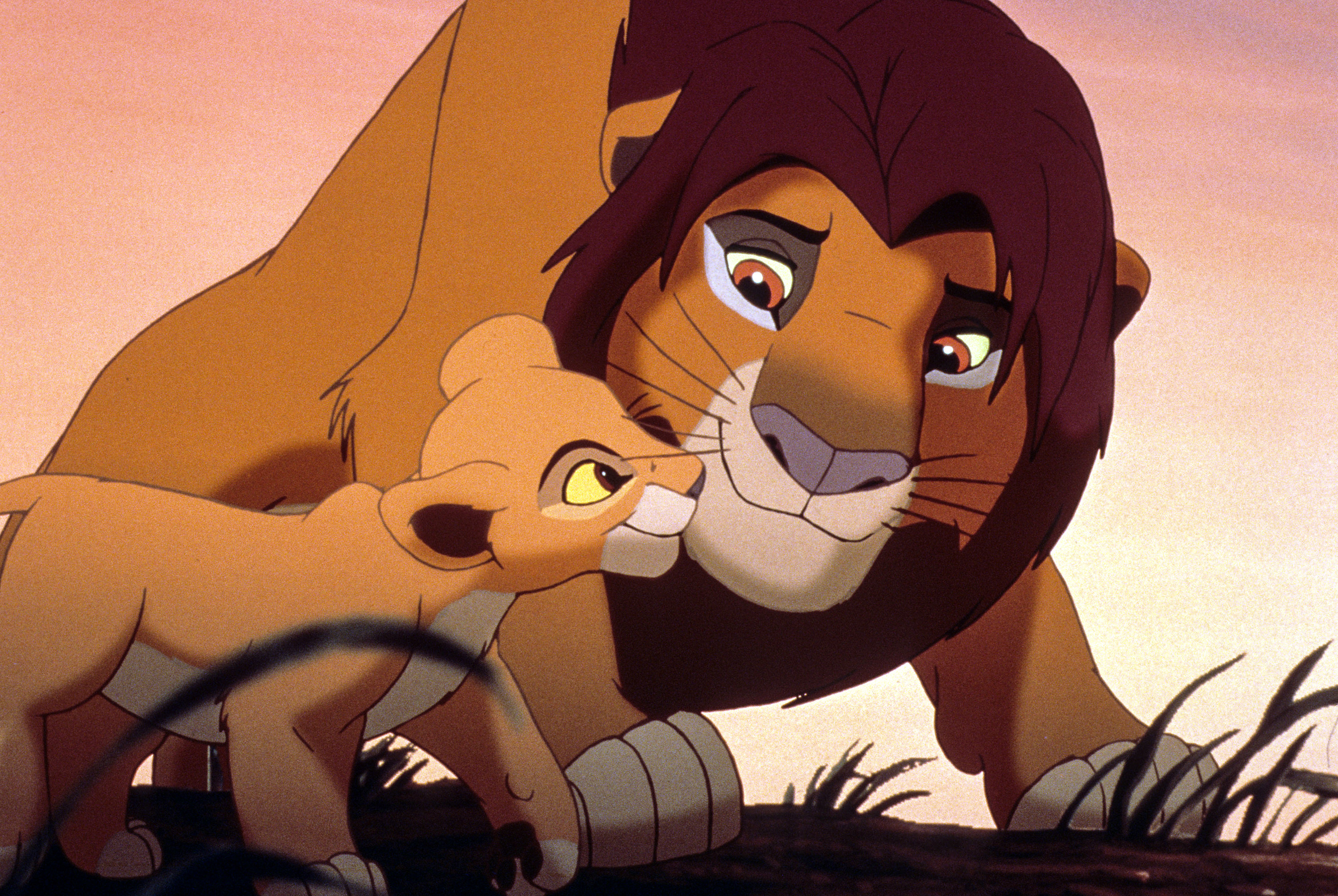 an animated baby and adult lion