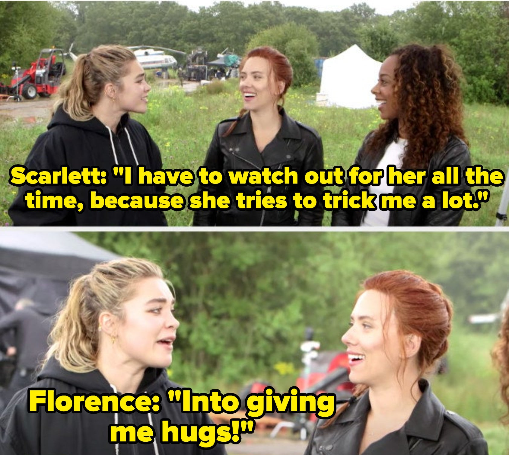 Florence Pugh talking about how she tricks scarlett johansson into giving her hugs