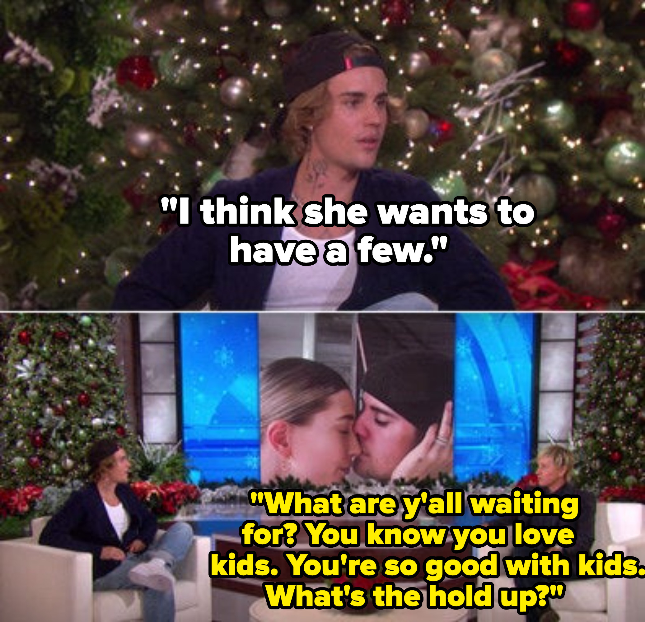 Ellen asking Justin Bieber why it's taking him so long to have kids