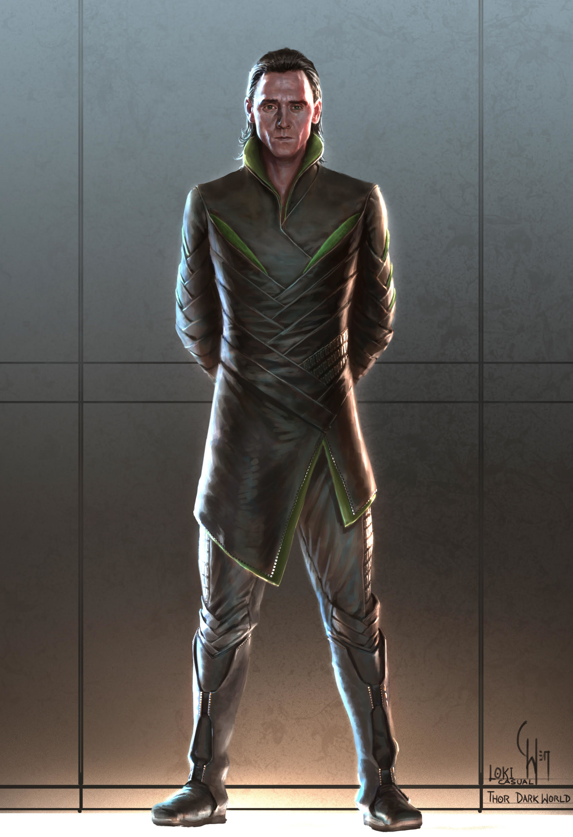 Illustration of Loki for Dark World where his outfit is made of leather and has almost an angular, braided design