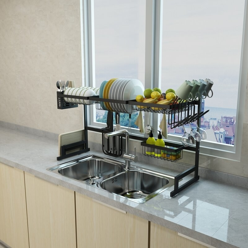 the dish rack over a double sink