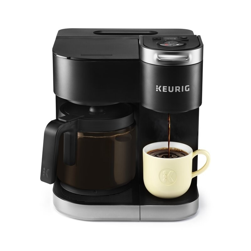 the black two-sided coffee maker