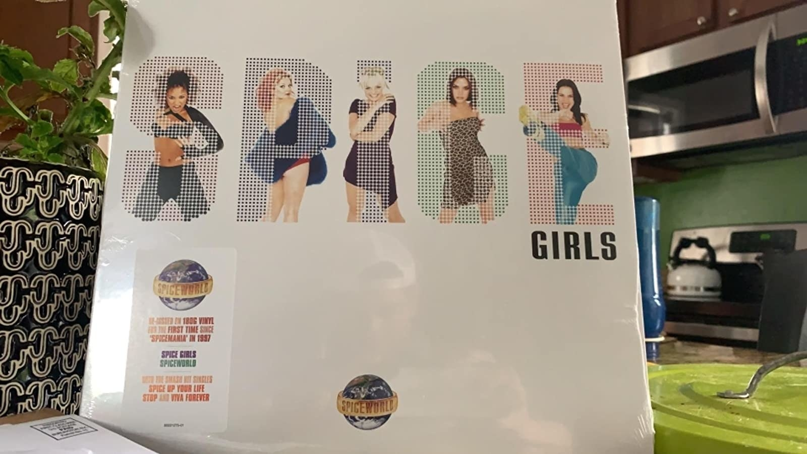 reviewer's spiceworld vinyl propped up on a counter