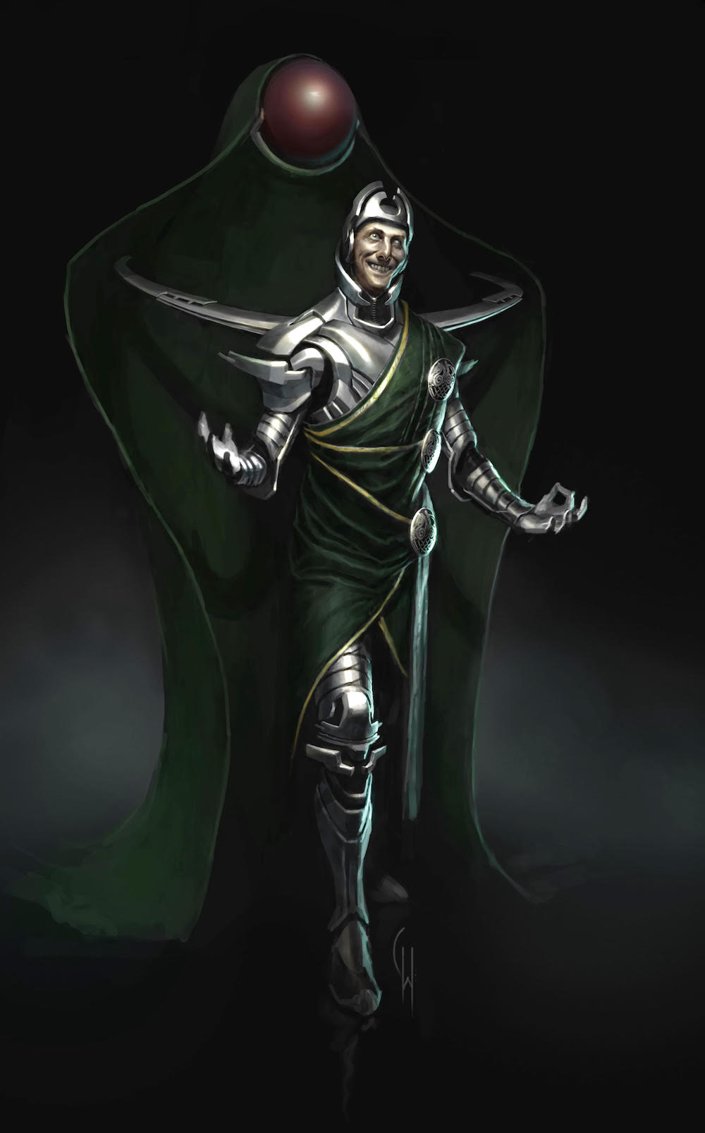 Illustration of Loki as a concept, that looks very mechanical, like he's wearing a futuristic suit of armor