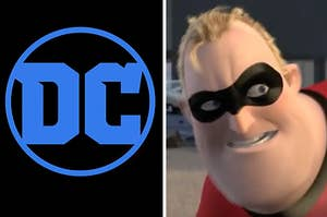 the dc comic logo on the left and mr incredible on the right