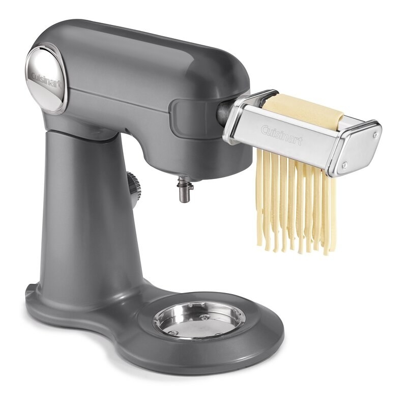 the mixer with the pasta cutter attachment