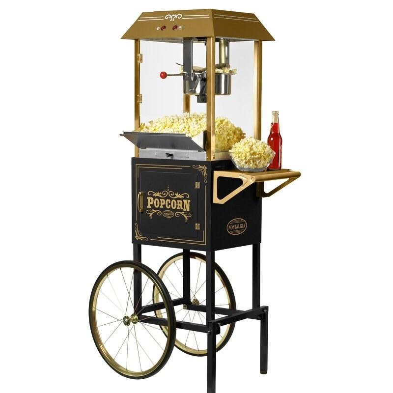 the upright maker full of popcorn