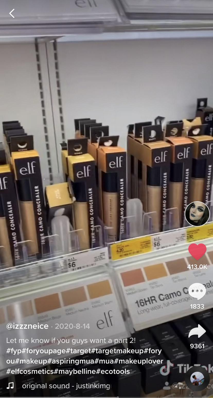 Screen shot of @izzneice's Tik Tok showing the ELF Camo Concealer at Target