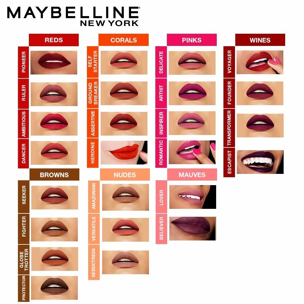 A collage showing maybelline liquid lipstick shades