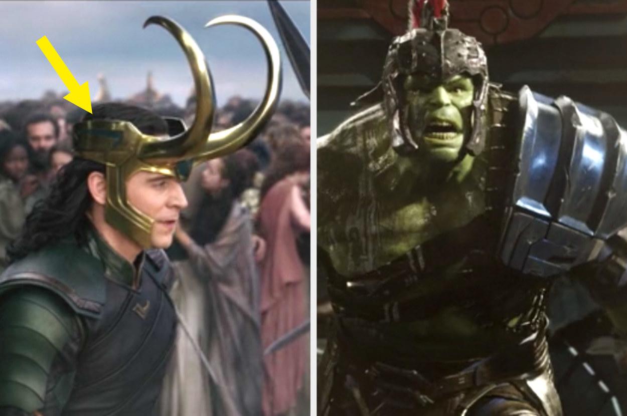 Loki wearing a helmet that has angular designs on the side, and Hulk's armor having similar angular designs on the shoulder pad