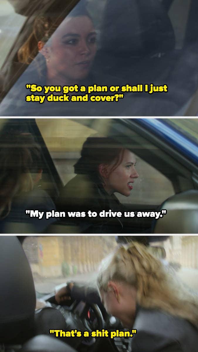 Yelena and Natasha arguing over the plan and Yelena saves them