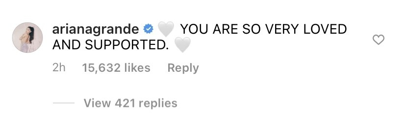 A screenshot of Ariana's comment, which says you are so very loved and supported