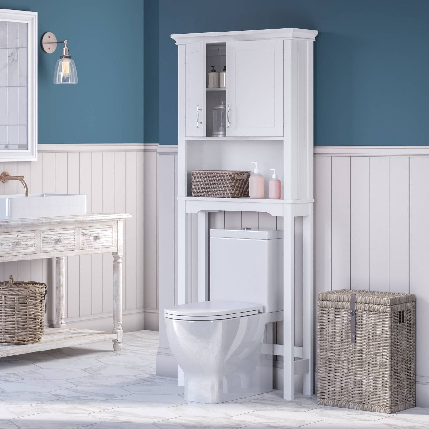 The whiteover-the-top toilet cabinet with adjustable shelves