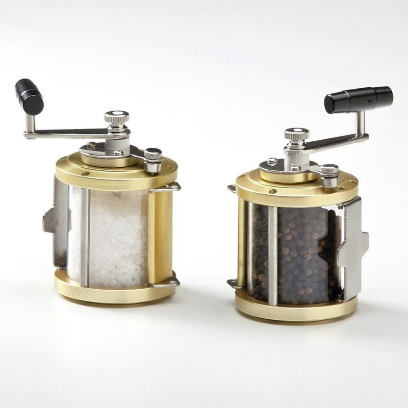 the brass, glass and steel grinders with salt and pepper inside