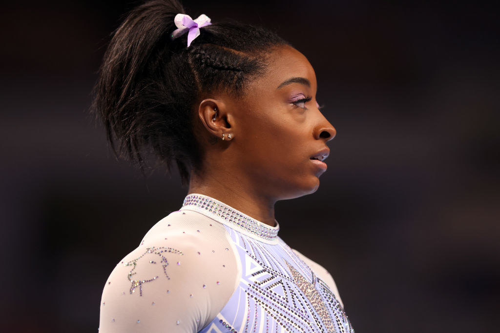 the Olympic gymnast has a sparkly goat on her leotard's shoulder