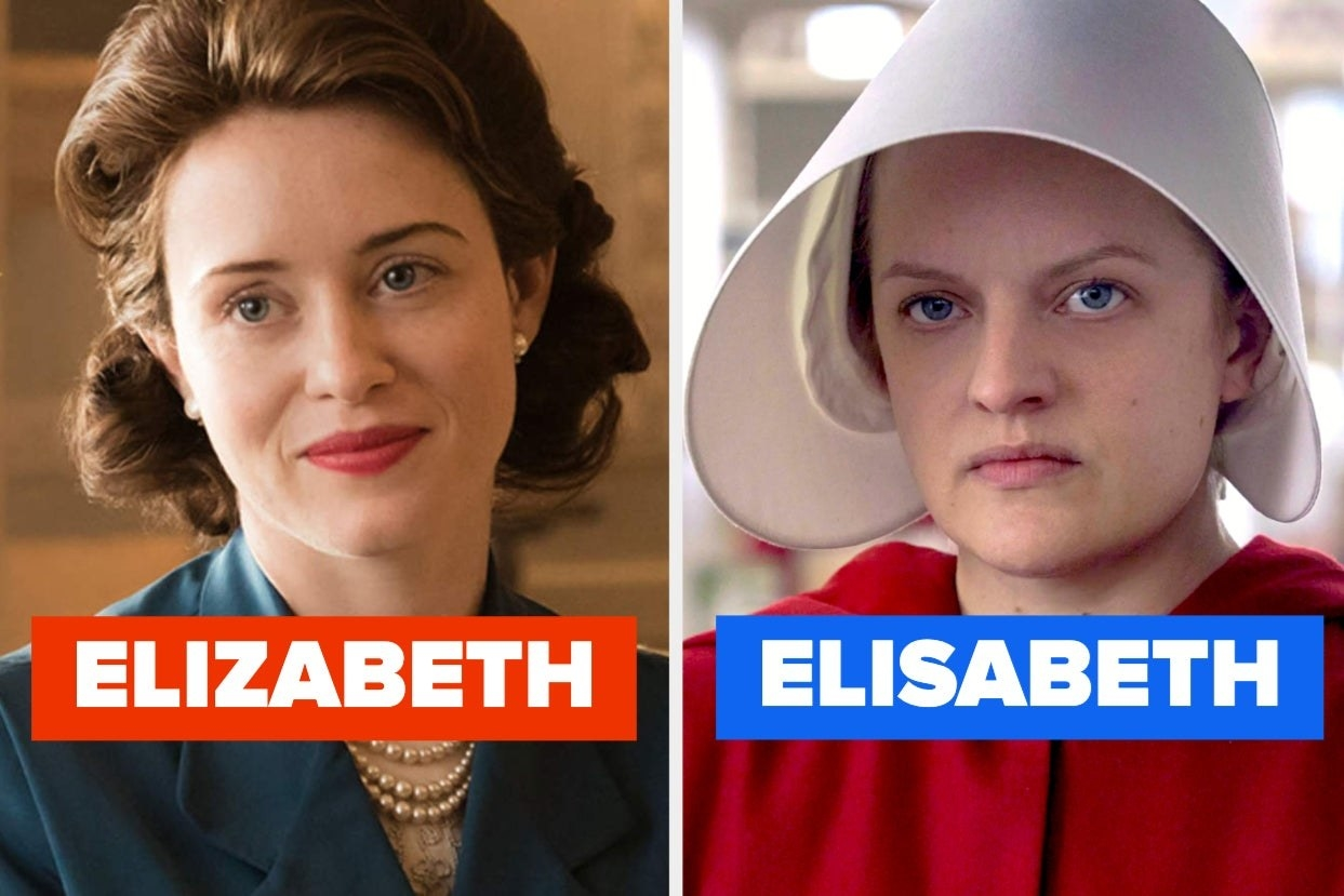 Stills showing Claire Foy as the Queen in The Crown and Elisabeth Moss as Offred in Handmaid's Tale