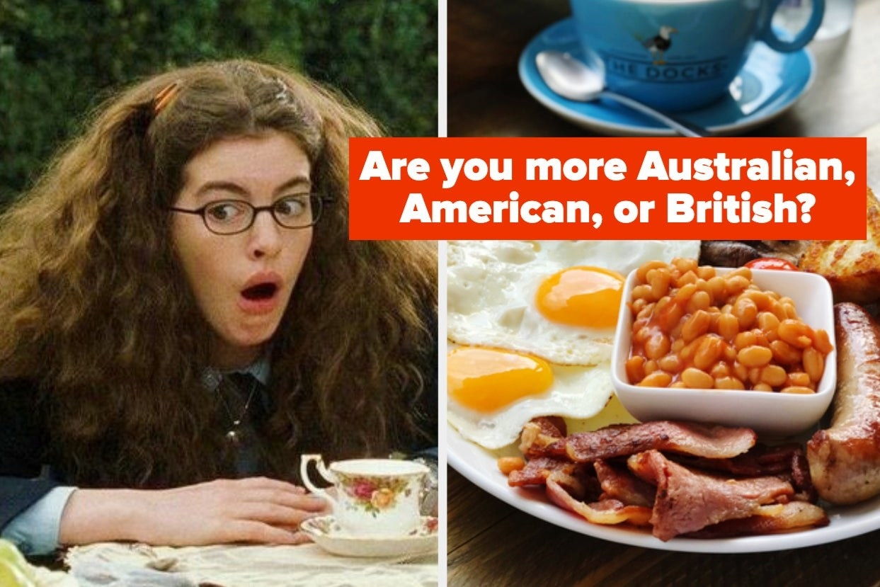 """Princess Mia from """"Princess Diaries"""" and british breakfast with the words """"Are you more Australian, American, or British?"""""""