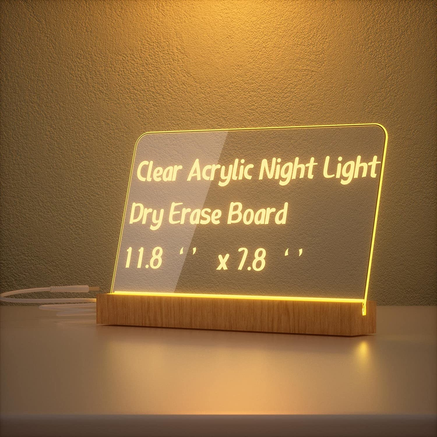 the acrylic dry erase board on its light up stand