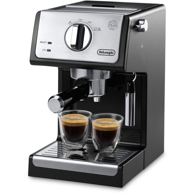 the black and silver espresso machine with two cups of espresso