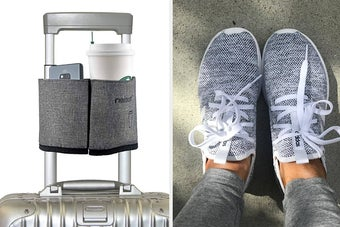 a cup caddy on a suitcase; a reviewer wearing Adidas sneakers