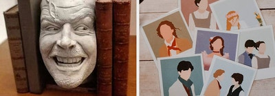 the shining bookend on the left and little women polaroid bookmarks on the right