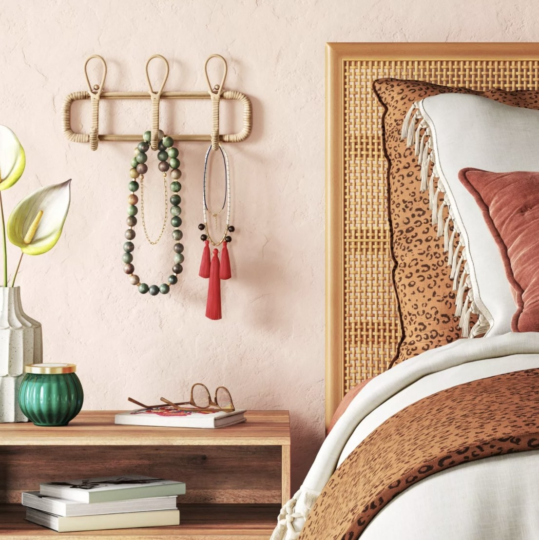 Rattan hook next to bed