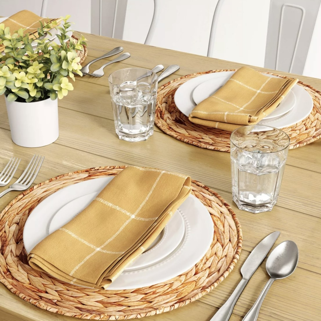 Placemats on table with dinner setting