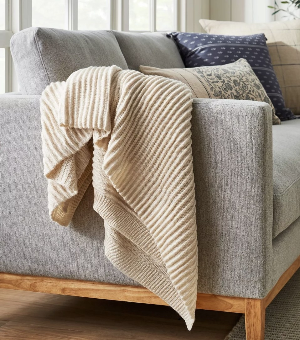 Throw blanket draped on couch