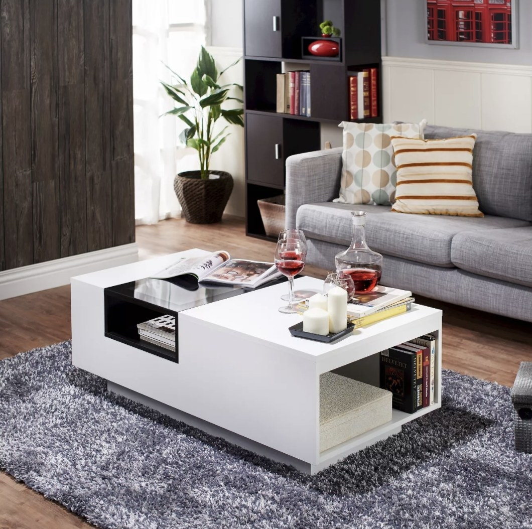 Two toned coffee table in living room