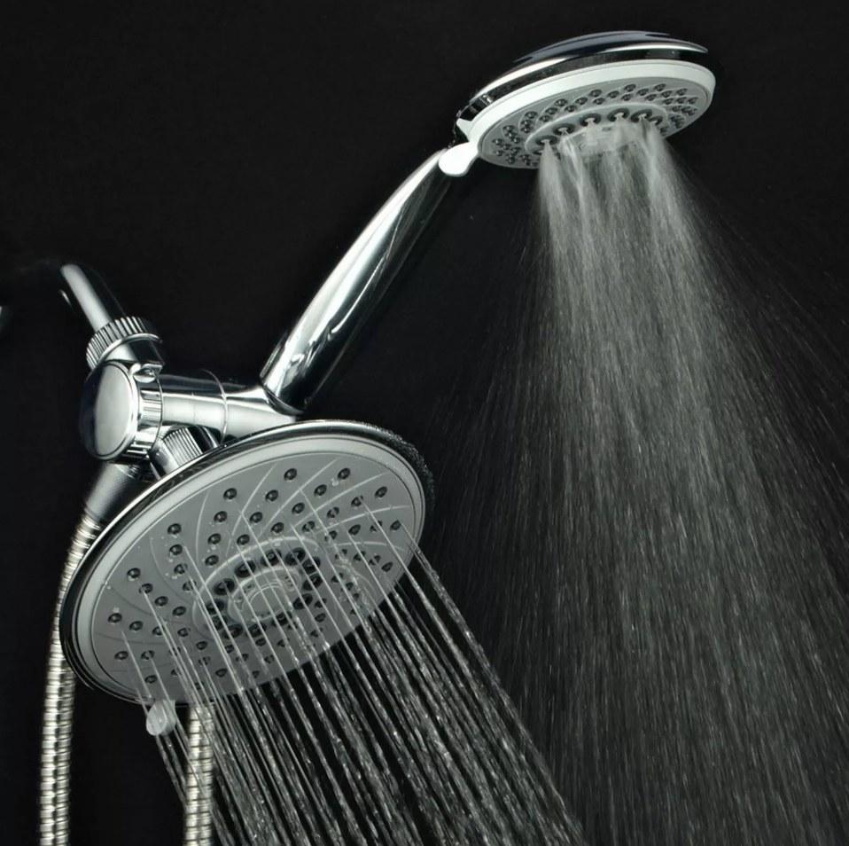 Chrome double shower head rainfall shower