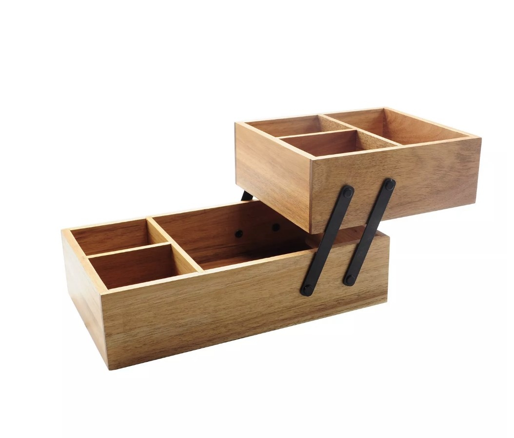 Two level wooden vanity organizer