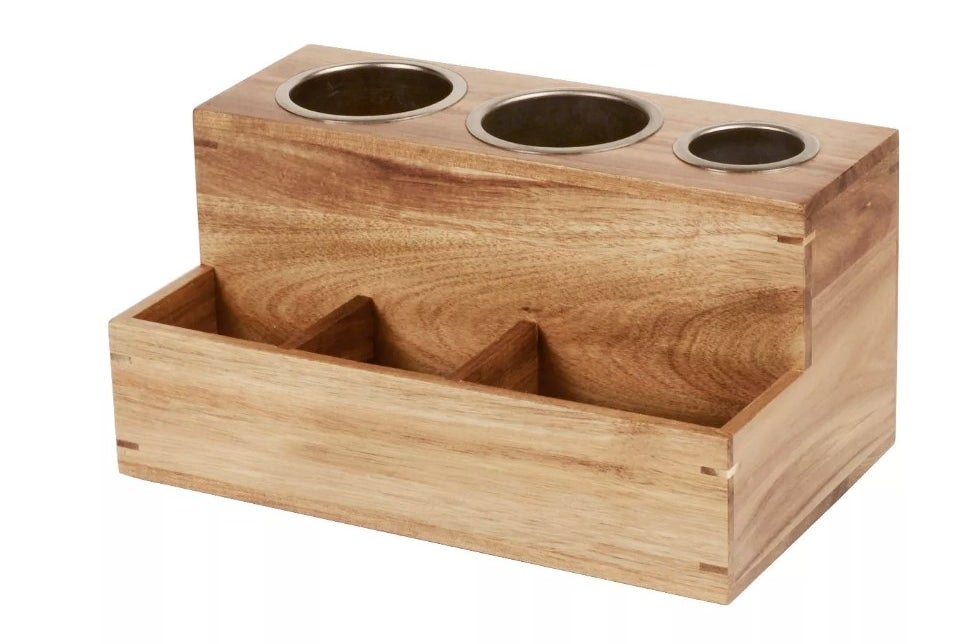 Wooden hair tools organizer with three compartments for hair tools
