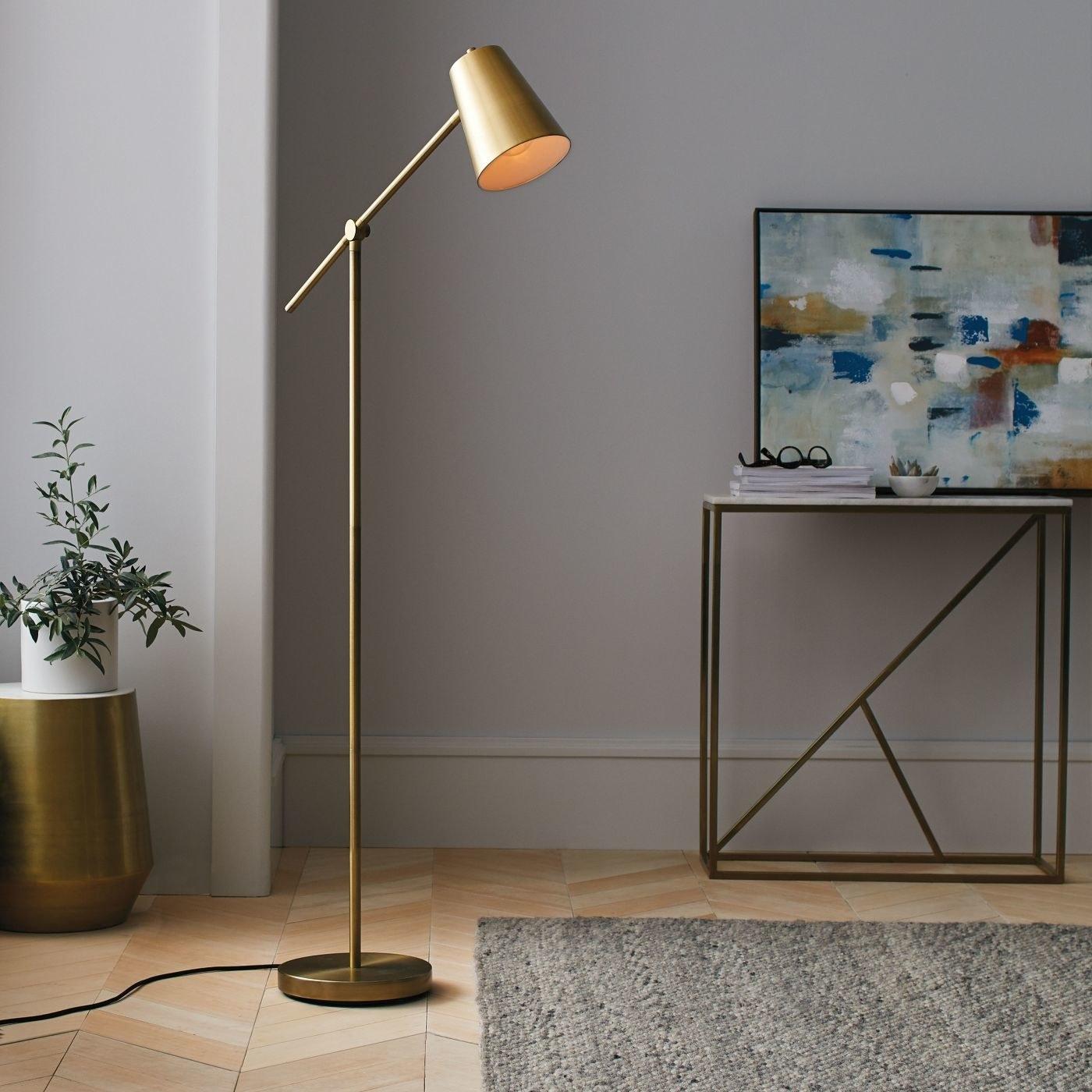brass cantilever floor lamp