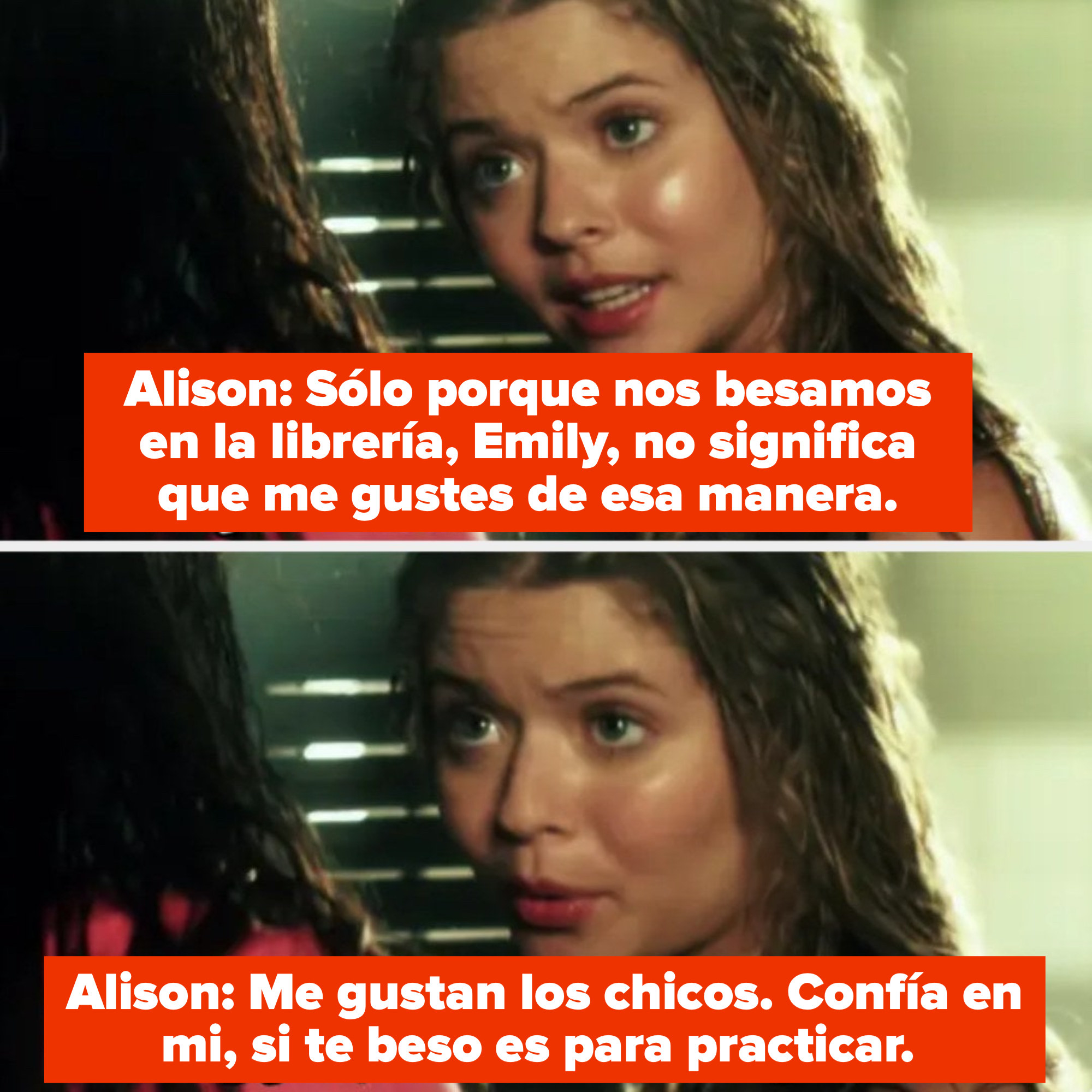 Alison tells Emily she's only kissing her for practice