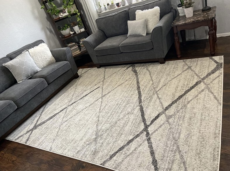 A light grey contemporary area rug designed with darker shades of grey lines